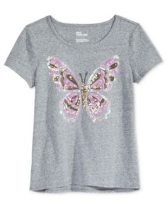 f20e94ba Epic Threads Sequin Butterfly T-Shirt, Big Girls (7-16), Created for Macy's  - Gray XL