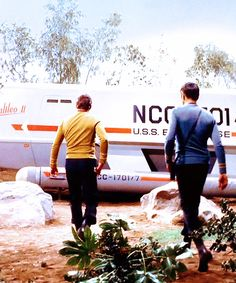 Kirk and Spock marching to the shuttle craft (Star Trek)
