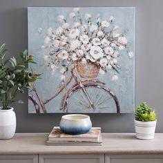 Flower Basket on Bike Canvas Art Print | Kirklands