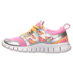 69bb597e9e6c Girls Grade School Nike Free 2.0 Running Shoes Pink Glow Atomic Mango  Metallic Silver  Sneakers