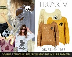 Skull rip sweater! Last items available at trunkv.com