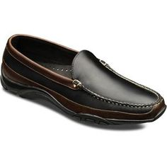 This handsome driving moc will make you and your feet happy. The Boulder by Allen Edmonds shows off its two tone leather uppers and contrast stitching in great casual style. Features leather uppers, Blues runner sole and hand sewn construction. Versace Men, Gucci Men, Brown Trim, Black And Brown, Mens Business Casual Shoes, Slip On Shoes, Men's Shoes, Allen Edmonds Shoes, Gorgeous Men