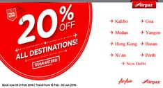 Done with Valentine Promo and searching for next trip ticket promotion ? you have come to the right site ! we have a lot of special offer for you. Grab AirAsia special 20% discount for all destinations on Airpaz. you can fly to Kalibo, Goa, Medan, Bangkok, Hong Kong, and many other great travel destination with 20% savings. What are you waiting for? Book Now http://airpaz.com