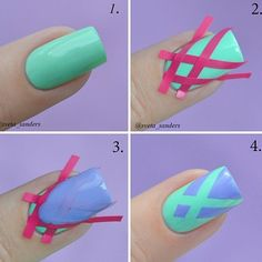 Lilac and Mint Green Nail Design
