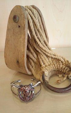 Copper Longhorn Horseshoe Bracelet
