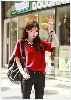 Back-to-School Sale~ Up to 80% OFF all items! Seoul Fashion - Striped V-Neck T-Shirt US$10.58