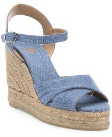 Castaner Blaudell Denim Espadrille Wedge Sandals