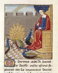 Bibliothèque nationale de France, Français 143, detail of f. 20 (Juno). Évrard de Conty, Échecs amoureux. France (Cognac), c. 1496-1498. Artist: Robinet Testard.