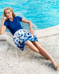 Brooks Brothers women's floral printed a-line skirt paired with our silk and cashmere polo sweater.