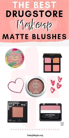 The Best Drugstore Matte Blushes Even though glow is in, we all still have that look that needs a matte blush to tie it in. I love using a matte. Best Drugstore Makeup, Drugstore Makeup Dupes, Elf Dupes, Eyeshadow Dupes, Lipstick Dupes, Day Makeup, Beauty Makeup, Makeup Kit, Makeup Hacks