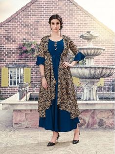 #krishriyaa #teasel #presents #latest #maslin #fancy #kurtis | colourful inkblue and mouse kurtis | krishriyaa teasel presents latest fancy kurtis | half sleeve | fabric maslin kurtis | party wear kurtis