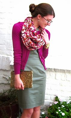 I could do this with my yellow sweater and scarf with yellow in it and my gray dress. :)