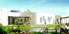 CEBRA has been designing several buildings for young users, (we recently featured their grade building) and their new Design Kindergarten. Architecture Collage, Education Architecture, Landscape Architecture, Landscape Design, Architecture Design, Kindergarten Design, Garden Projects, Exterior Design, Mansions