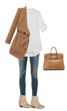 """""""Untitled #1809"""" by yuenchewwan ❤ liked on Polyvore featuring Citizens of Humanity, Hermès, women's clothing, women, female, woman, misses and juniors"""