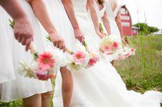 Our rustic barn wedding: Boquets- Gerber daisies, peonies, babies breath, hydrangeas. Wedding bouquet, red barn, bridesmaid bouquets