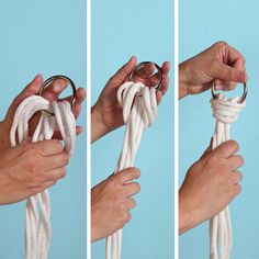 Tie a lark's head knot at the top