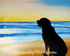 Dog Sunset Silhouette Print  Days End Dog on Beach at Sunset
