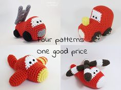 Crochet patterns amigurumi vehicles stuffed toys - fire truck, train engine, airplane and helicopter - pdf tutorials - US English by ByMarika on Etsy