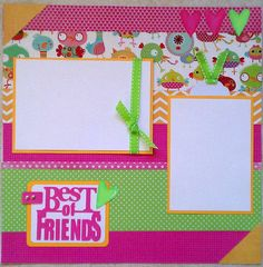 Best of Friends 12x12 premade scrapbook layout page Ohioscrapper on Etsy, $15.00