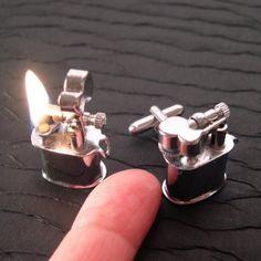Mini REAL Working Vintage Lighter Cufflinks by YOUgNeek on Etsy