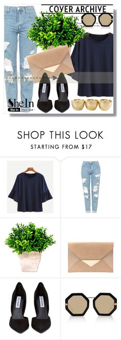 """""""Sheinside contest !!"""" by dianagrigoryan ❤ liked on Polyvore featuring Topshop, Steve Madden and Karen Walker"""