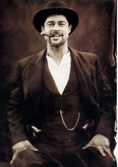 "Brad Pitt playing Jesse James in the amazing movie ""The Assassination of Jesse James by the Coward Robert Ford."" He says it's his favorite roll he has played."