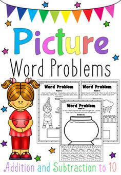 This Picture Word Problems Printable Worksheet Pack is great for students who are beginning to master the art of solving word problems. It features 20 different printables (10 for addition and 10 for subtraction) up to the number 10. The addition printables require students to cut and paste the correct amount of pictures in order to solve the word problem.