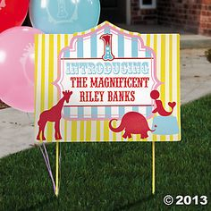 """OT: $5.25 Personalized 1st Birthday Circus """"Introducing"""" Yard Sign - Oriental Trading"""