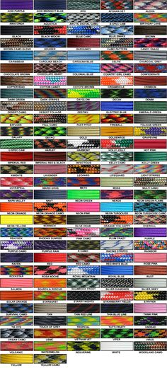 Paracord Color Chart - inexpensive source at gorillaparacord.com