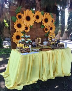 Image may contain: one or more people, flower and outdoor Sunflower Birthday Parties, Sunflower Party, Sunflower Baby Showers, 18th Birthday Party, Mom Birthday, Baby Shower Gender Reveal, Baby Shower Themes, Baby Shower Decorations, Sunflower Wedding Decorations
