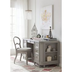 Stone & Leigh™ by Stanley Furniture Clementine Court Solid Wood Credenza Desk and Chair Set Color: Spoon Home Office Furniture Sets, Home Office Chairs, Office Decor, One Kings Lane, Colorful Furniture, Cool Furniture, Hooker Furniture, Traditional Home Offices, Wood Writing Desk