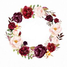 Watercolor floral wreath-marsala/individual png files/hand p Motif Floral, Floral Border, Floral Wreath Watercolor, Watercolor Flowers, Wedding Cards, Wedding Invitations, Floral Letters, Flower Frame, Iphone Wallpaper