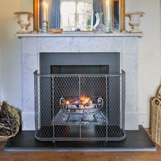 Traditional fire guard from Garden Requisites. Bespoke fireguards made from our studio in Bath UK. Open Floor House Plans, Bath Uk, Living Room With Fireplace, Living Rooms, Aging Metal, Fireplace Screens, Open Fires, Antique Metal, Flooring