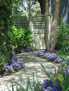 Garden path leads to gate with trellis panel giving hint of garden beyond.