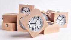 Wooden desk clock wood table clock