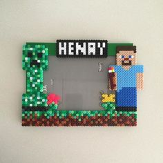 Custom Minecraft  photo frame perler beads by ikasuyanto