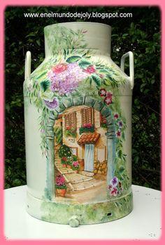 En el Mundo de Joly: LECHERAS Painted Milk Cans, Decoupage, Old Milk Cans, Vintage Milk Can, Jar Art, Tin Containers, Garden Painting, Bottles And Jars, Diy Canvas