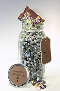 Candy Edition - Personalized Message Filled Mason Jar**Deployment Gift** After Christmas, Christmas Delivery, Craft Kits For Kids, Crafts For Kids, Candy May, 365 Jar, Deployment Gifts, Military Gifts, Mason Jar Lids