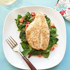 Red Snapper over Sauteed Spinach and Tomatoes   MyRecipes.com