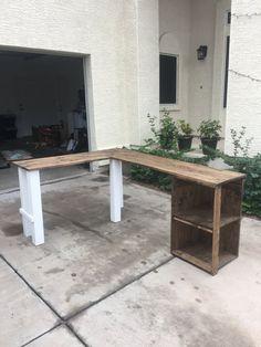 Custom L-Shaped Rustic Wood Handmade Desk with Open Shelving