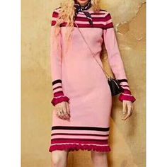 Pink Stripe Ruffle Hem Long Sleeve Knitted Bodycon Dress (400 CNY) ❤ liked on Polyvore featuring dresses, striped bodycon dress, pink striped dress, red long sleeve dress, long sleeve bodycon dress and long sleeve stripe dress