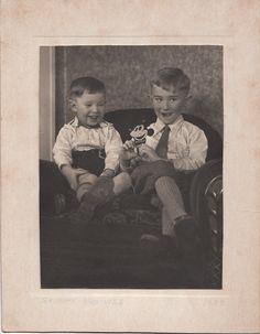 Photo Little Boys Playing Early Mickey Mouse Toy 1933