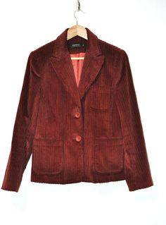 Vintage 80s Wide Wale Corduroy Blazer Wine by Continual on Etsy, $20.00