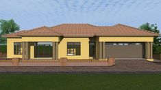 Overall Dimensions- x 1 Car Garage Area- Square meters House Roof Design, Village House Design, Bungalow House Design, House Plans Mansion, 4 Bedroom House Plans, Single Storey House Plans, Tuscan House Plans, House Plans South Africa, Bungalow Floor Plans