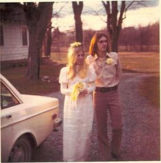 70s bride and groom