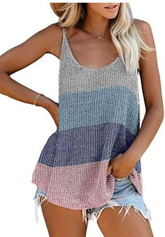 Women Scoop Neck Sleeveless Knit Color Block Loose Cami Tank Tops Shirts promo code 50XCUND8 End date: Jul 31 #offer #sale #deal #Discount
