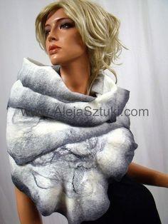 Nuno felted silk shawl scarves. Nuno felting. Silk by Nunofeltart