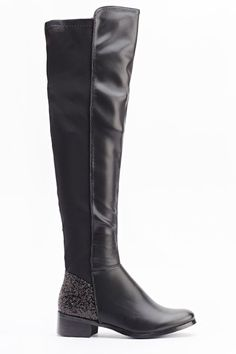 Glitter Contrast knee High Boots