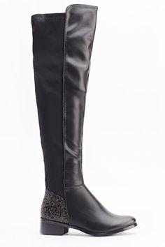 Glitter Contrast knee High Boots