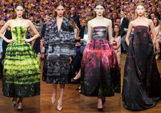 Raf Simons for Christian Dior, AW12 Haute Couture (Simons's debut). Paintings by Sterling Ruby were incorporated through warp printing, a difficult fabric technique, to add movement.